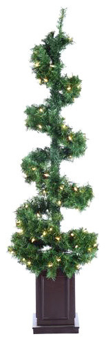 5' Pre-Lit Helix Spiral Potted Artificial Topiary Tree, Clear Lights