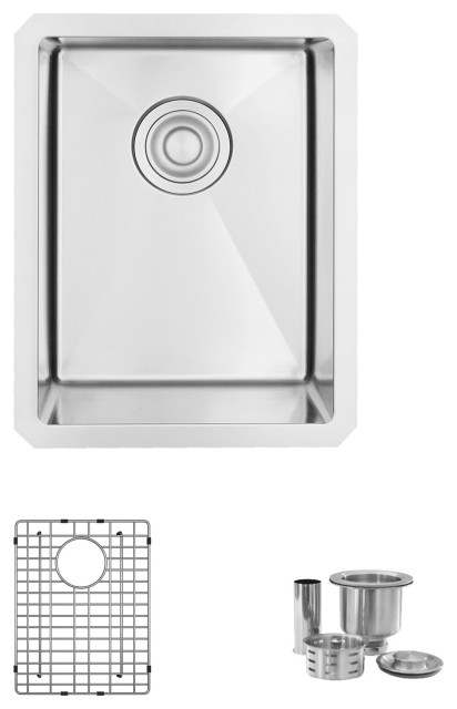 "STYLISH 14"" Single Bowl, 18G, Stainless Steel Kitchen Sink S-310G- Ivory"