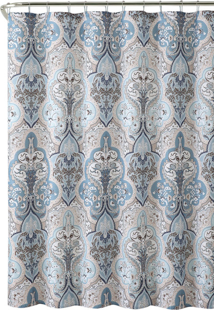Calais Blue Brown White Damask Dobby Fabric Shower Curtain