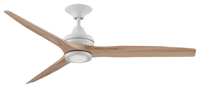 "Fanimation Spitfire Ceiling 60"" Fan, Matte White Motor/natural Blades, Led Light."