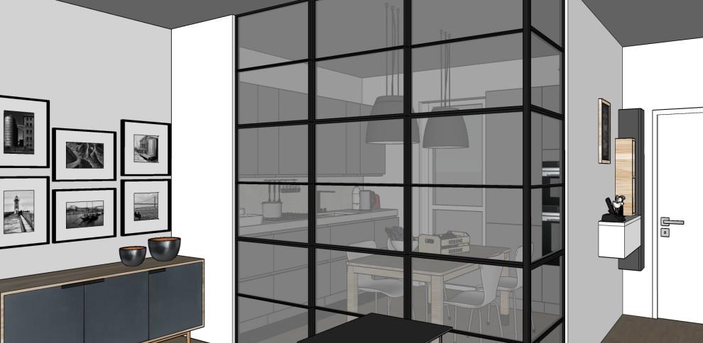 Render_Vista verso la cucina e l'ingresso (serramento interno chiuso).