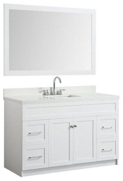 55 Bath Vanity White With Quartz Vanity Top White With White Basin Mirror Transitional Bathroom Vanities And Sink Consoles By Dream Bathroom Vanities