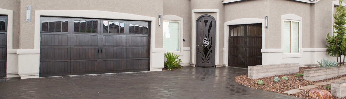 Faux wood steel carriage style garage doors Wayne dalton garage doors