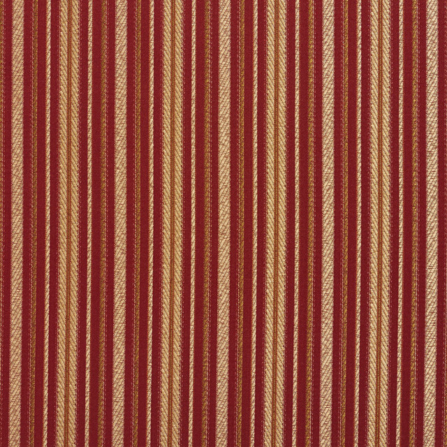 Red Gold And Green Striped Damask Upholstery Fabric By The Yard