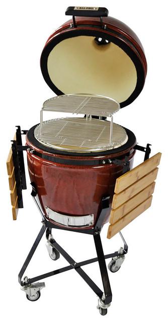 "All-Pro 19"" Ap1941b1 Outdoor Red Ceramic Kamado Grill Black Powder Coat Trim."