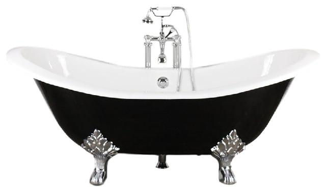"""the croxden 73"""" cast iron double slipper tub with drain"""