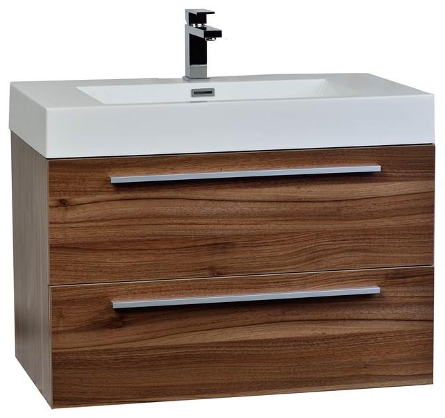 "Wall Mounted Under Sink Bathroom Storage Cabinet Portland: Wall-Mounted Bathroom Vanity Set, Walnut, 31.5"""