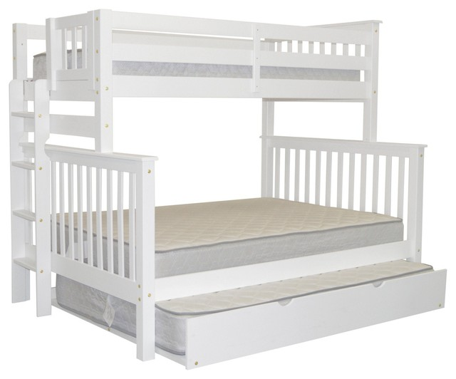 Bedz King Bunk Beds Twin Over Full With End Ladder And Full Trundle, White.
