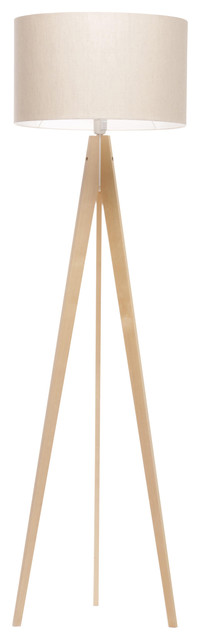 Artist Tripod Floor Lamp With Wood Base, Natural Linen and Cotton Shade