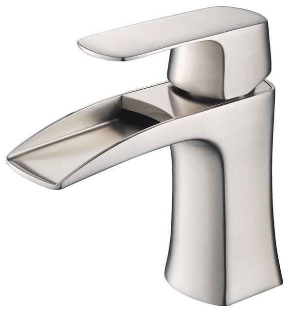 Fresca Fortore Single Hole Mount Bathroom Vanity Faucet, Brushed Nickel  Contemporary Bathroom Sink