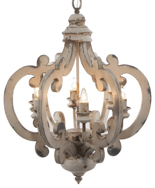 White Distressed 6 Light Chandelier farmhouse-chandeliers