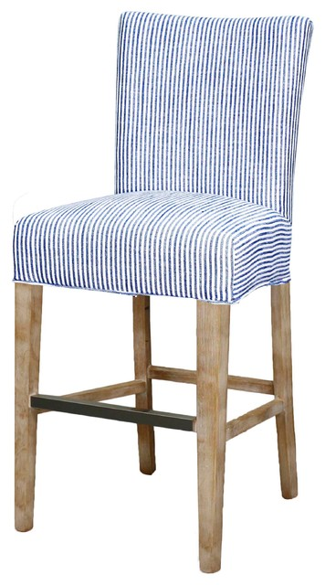 Milton Fabric Counter Stool With Natural Wood Legs