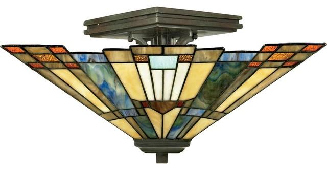 2 Light Standard Bulb Semi Flush Mount In Valiant Bronze.