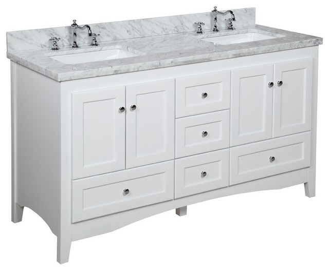 "Abbey 60"" Bath Vanity, Base: White, Top: Carrara Marble, Double Vanity"