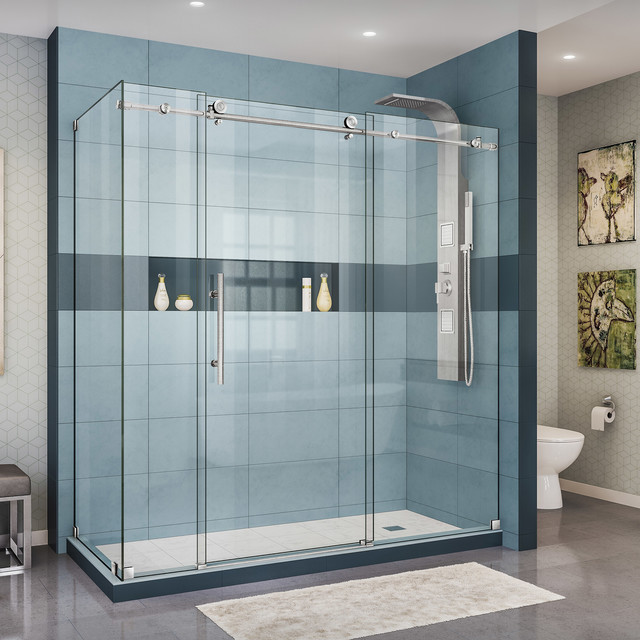 Enigma-X Fully Frameless Sliding Shower Enclosure, Brushed Stainless Steel by DreamLine