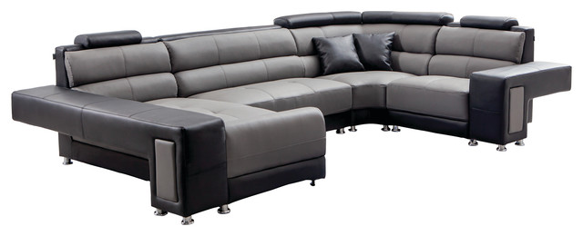 Gray And Black Leather Modern Sectional - Contemporary - Sectional ...