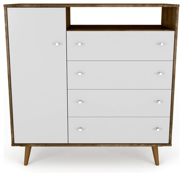 Mid Century Dresser Chest 4 Door 4 Shelf Rustic Brown White