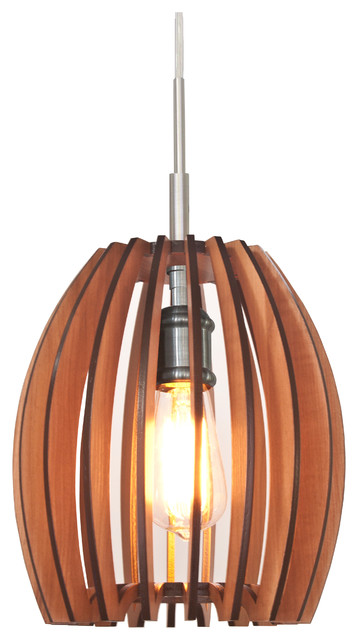 Canopy 1-Light Wood Shade Mini Pendant, Cherry.