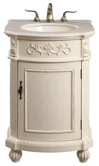 Antique White Bathroom Vanity | Lulu 1 Door Vanity Cabinet Antique White 24 Traditional