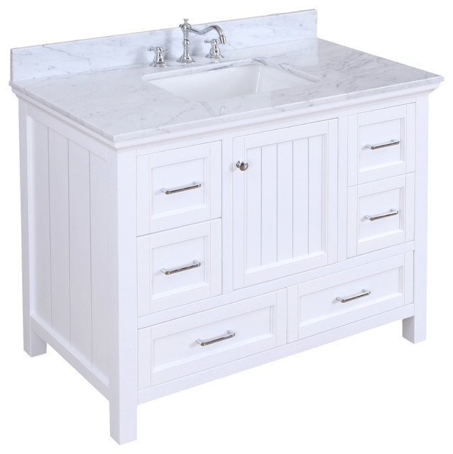 "Paige Bath Vanity, Base: White, 42"", Single Sink"