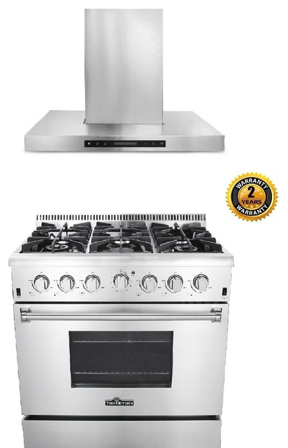 36 Inch Gas Range Wall Mount Hood Thor Kitchen Bundle Without