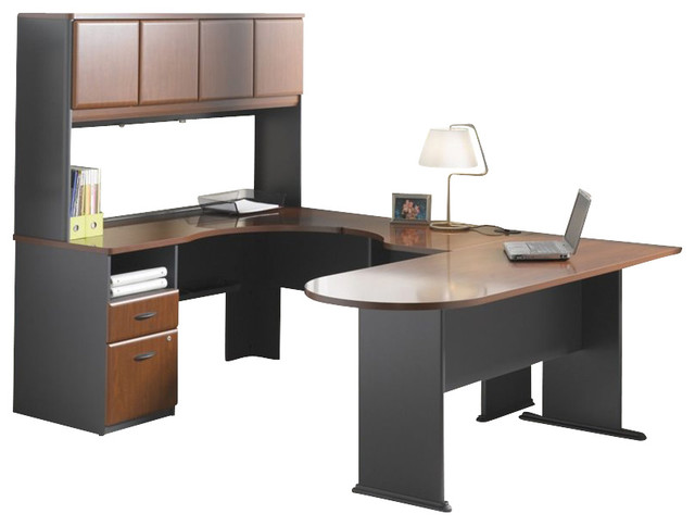 Bush Series A 4-Piece Wood Corner Computer Desk In