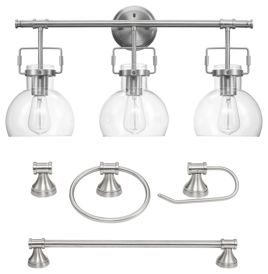 Walker 5 Piece Brushed Nickel All In One Bathroom Set Transitional Bathroom Accessory Sets By Globe Electric