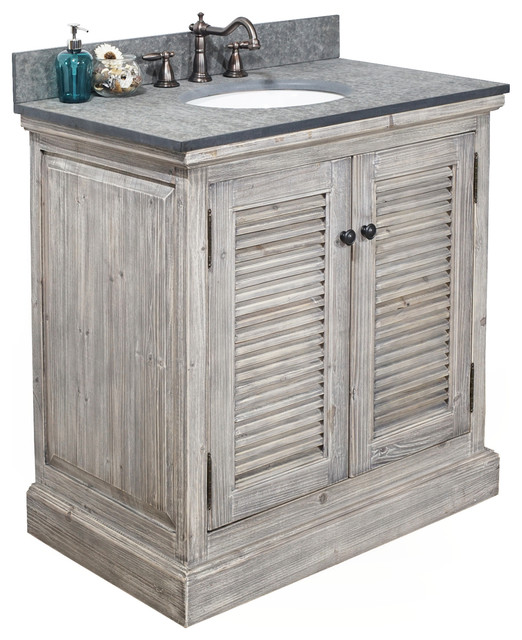 Single Fir Sink Vanity Driftwood With Polished Surface Granite Top 30 Gray Farmhouse Bathroom Vanities And Sink Consoles By Infurniture Inc