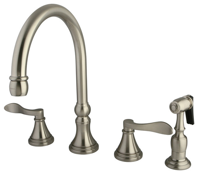 """Ks2798dflbs 8"""" Widespread Kitchen Faucet With Metal Side Sprayer."""