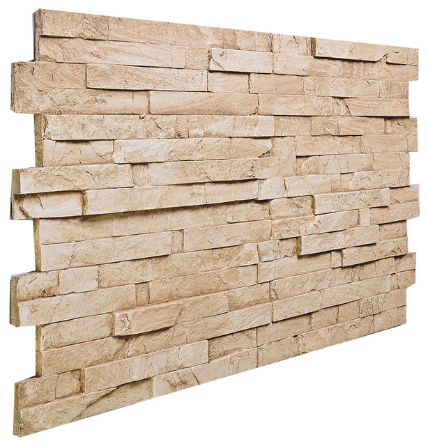 stacked slate wall panel almond
