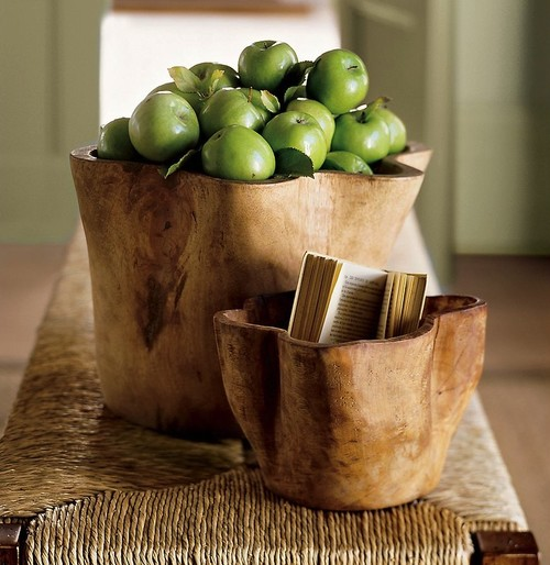 Hand-Carved Wood Vessel contemporary tabletop