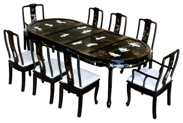Black Lacquer 9 Piece Oval Dining Set With Chinese Mother Of Pearl Motif  Asian