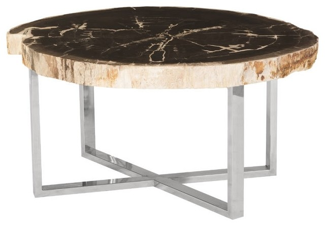 33 Wide Coffee Table Petrified Wood Stone Base Stainless Steel Brown