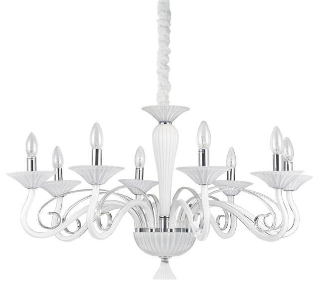 Ideal Lux Maximilian 8-Light White Coloured Glass Chandelier