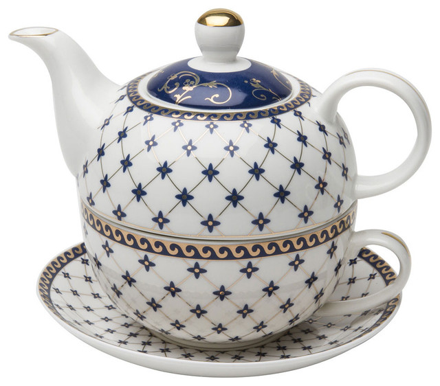 grace teaware porcelain 4 piece tea for one trellis blue gold trimmed teapots by laprima. Black Bedroom Furniture Sets. Home Design Ideas