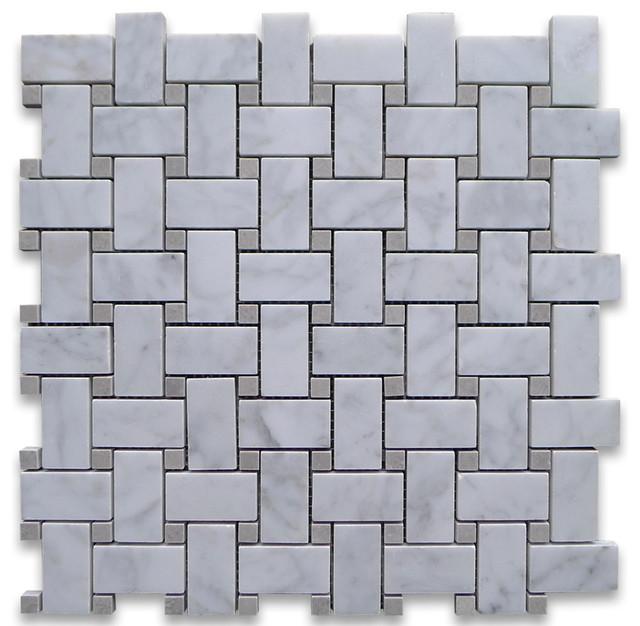 12 X12 Carrara White Basketweave Mosaic Gray Dots Honed Chip Size