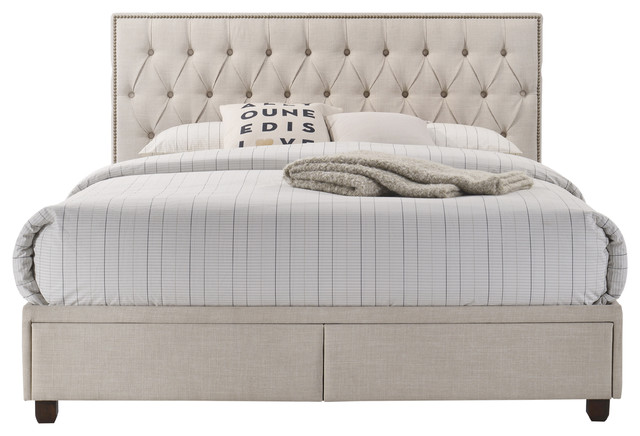 Burnished Brass Nail Head Trim Bed With
