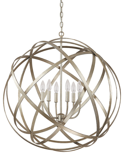 Capital Lighting Axis 6 Light Chandelier, Winter Gold, Standard