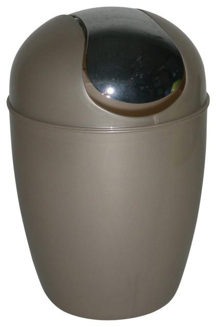 Bathroom mini waste basket countertop 0 5 liter 0 3 gal chrome lid contemporary Lidded trash can for bathroom