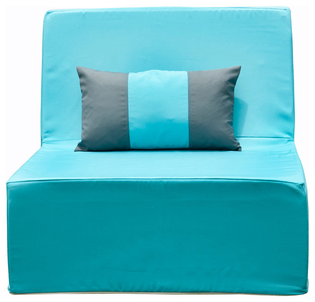 Lowboy Armless Lounge Chair, Aruba Blue Contemporary Outdoor Lounge Chairs