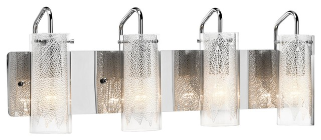 Contemporary Bathroom Vanity Lights 4 light standard bulb bath vanity light in chrome - contemporary