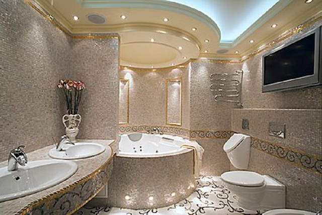 Luxury Marble Bathrooms custom designed handcrafted marble mosaic projects - mediterranean