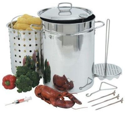 Bayou Classic Turkey Fryer With Lid, Stainless Steel, 32 Qt..