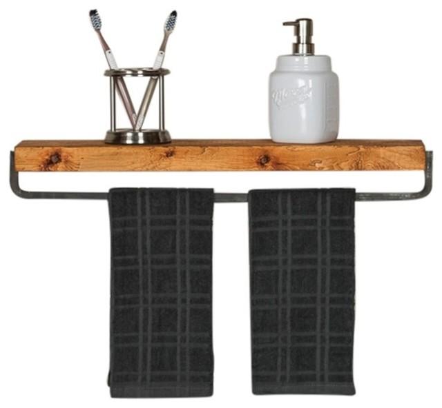True Floating Shelf Towel Holder - Industrial - Bathroom Cabinets ...
