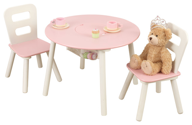 Kidkraft Round Table And 2 Chair Set Whitenatural.Round Storage Table And Chair Set White And Pink