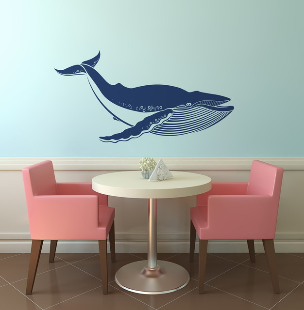 Giant Blue Whale Removable Vinyl Wall Art Decoration Beach Style Wall Decals