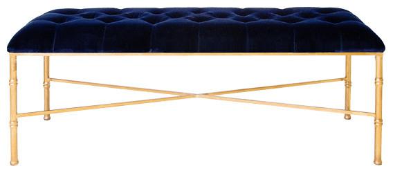 Worlds Away Gold Leafed Bamboo Bench With Navy Upholstered Velvet Stella Nvyg.