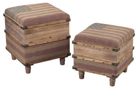 Light Distressed Oak National Wooden Storage OttomanSet of Two