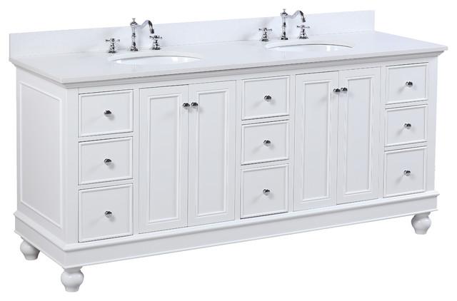 "Bella 72"" Double Bath Vanity, Base: White, Top: Quartz"