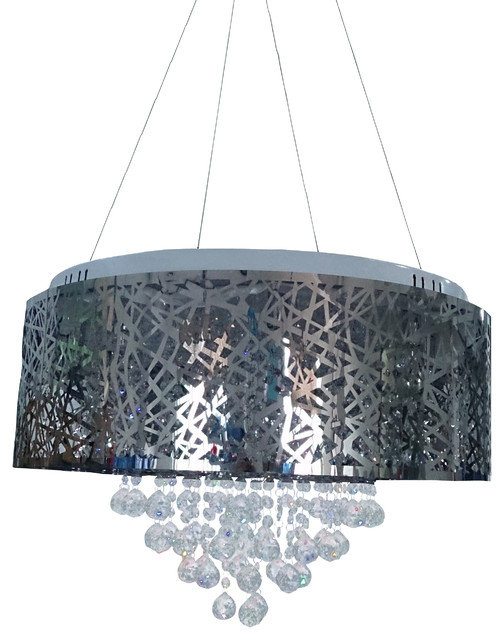 Paige 9-Light Contemporary Crystal Chandelier, Chrome Finish